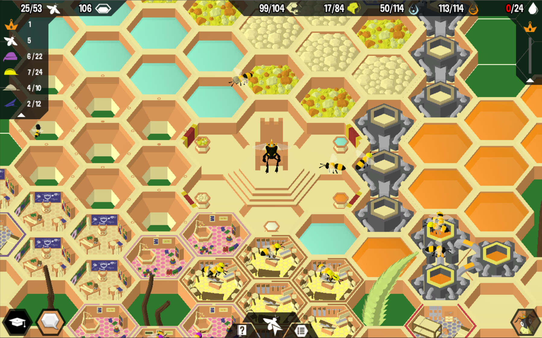 A screenshot of the game Hive Time. A queen bee sits on her thrown with multiple comb rooms surrounding her serving multiple purposes.