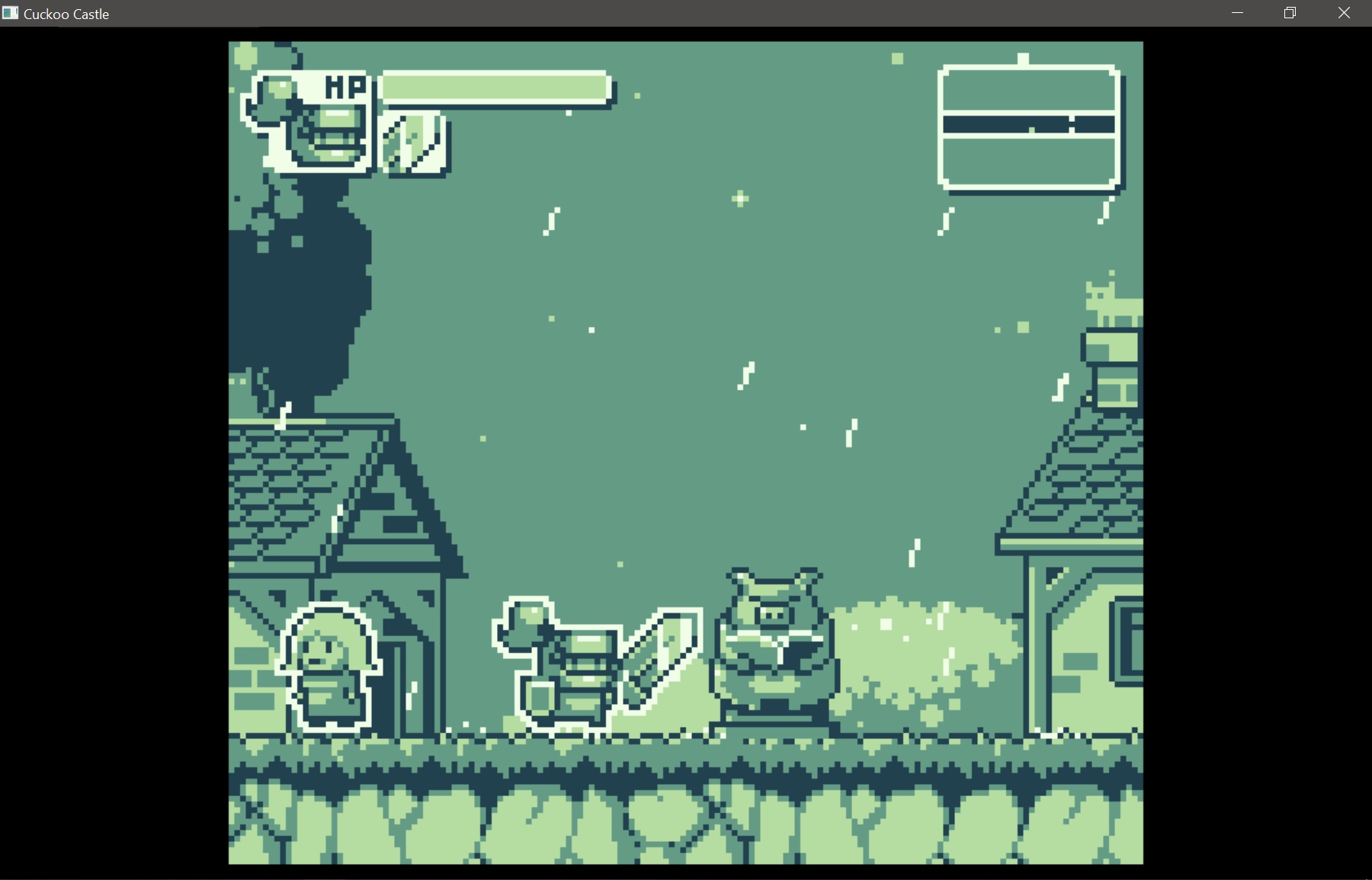 A small knightt standing next to a pig statue. The game looks like a slightly more modern gameboy game.