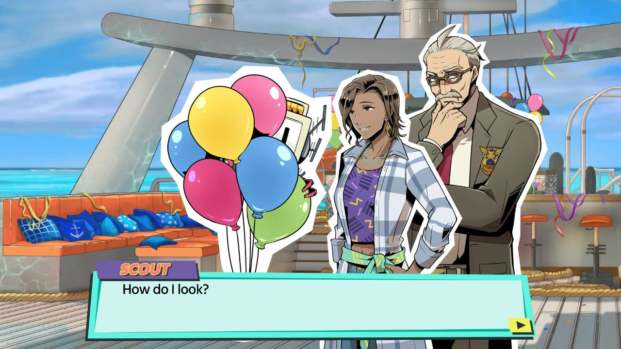 "The characters Honor and Detective Cross, looking at Scout who is hiding behind a bunch of balloons asking ""How do I look?"""