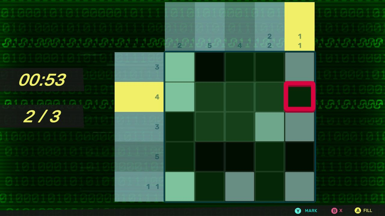 A 5 by 5 grid with a matrix style binary background to it. To the left there is a timer set at 00:53 seconds and numbering the grid as 2 out of 3
