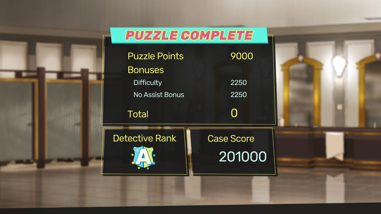 A Puzzle Complete screen, showing the puzzle points allocation of 9000, and seperate bonus' of 2250 each, with a final score of 201000 and a Detective Rank of A