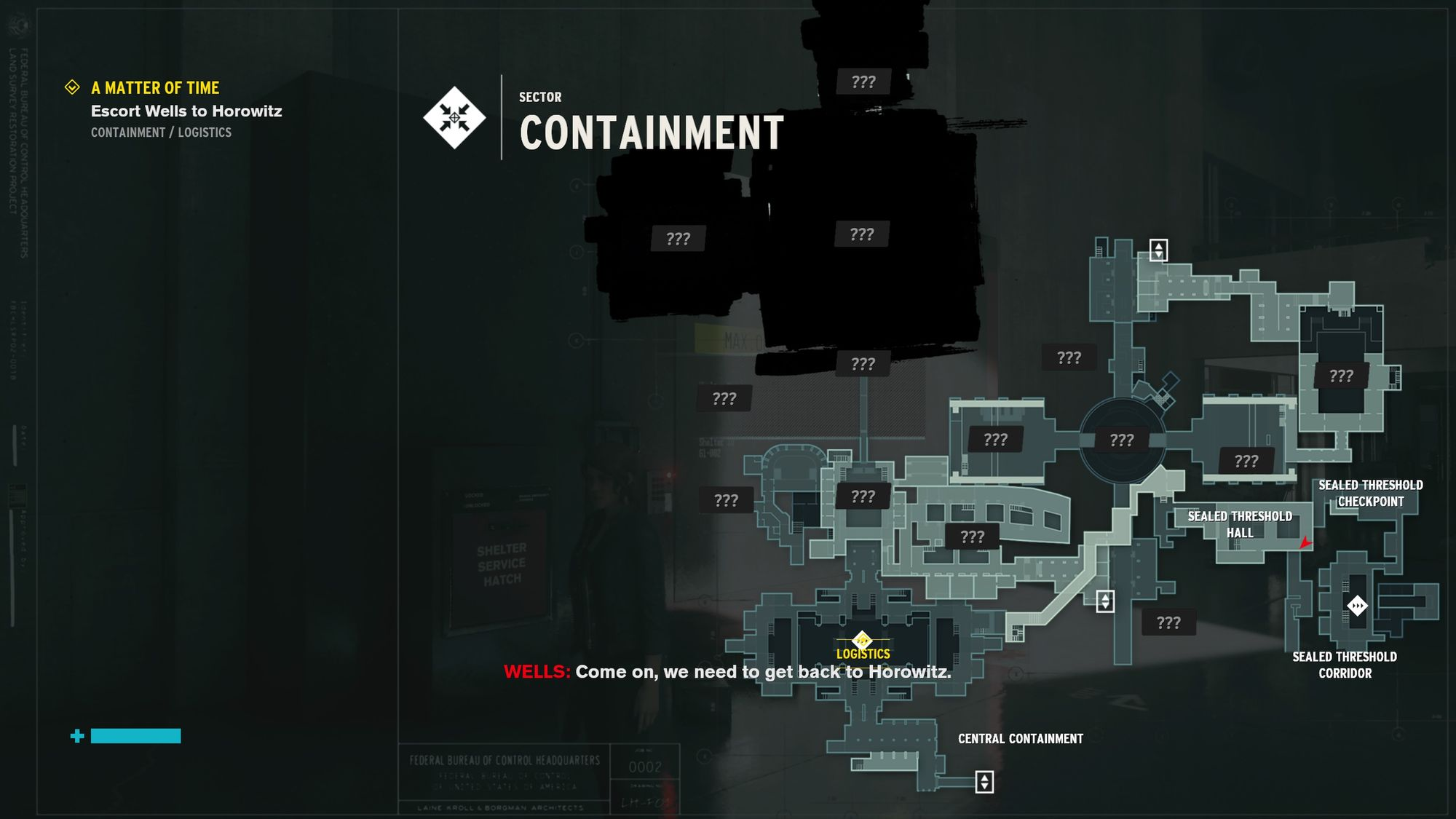 A picture of Control's building schematics for the Containment Sector of the Bureau
