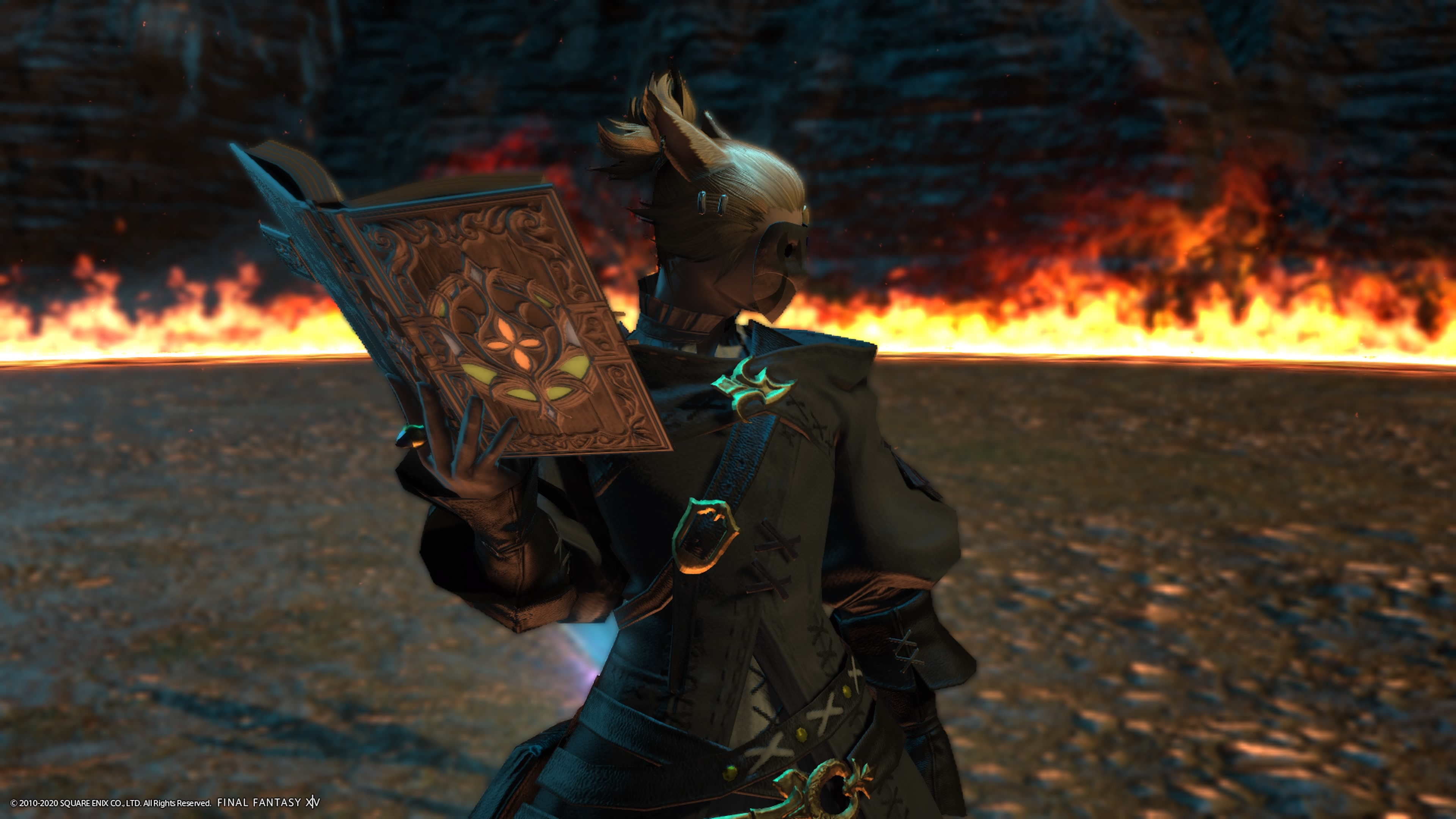 My character Atlas looking off camera, holding a book up with one hand. There is fire in the background.