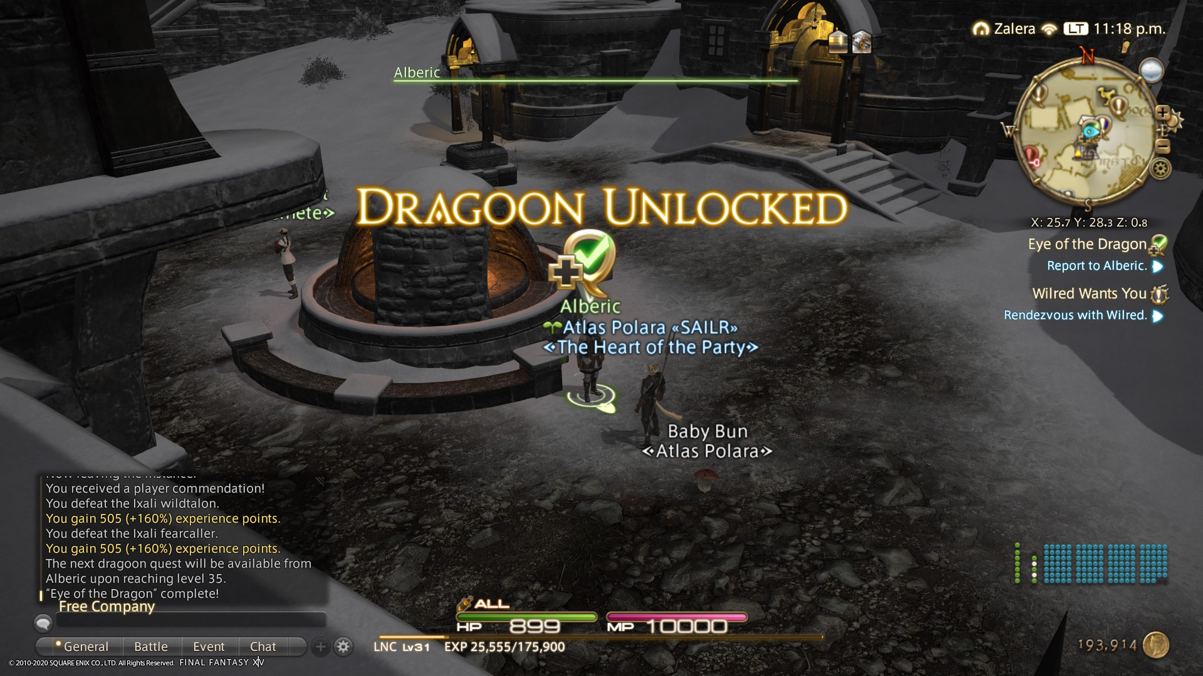 My FFXIV screen, the large words DRAGOON UNLOCKED in gold letters in the middle of the screen.