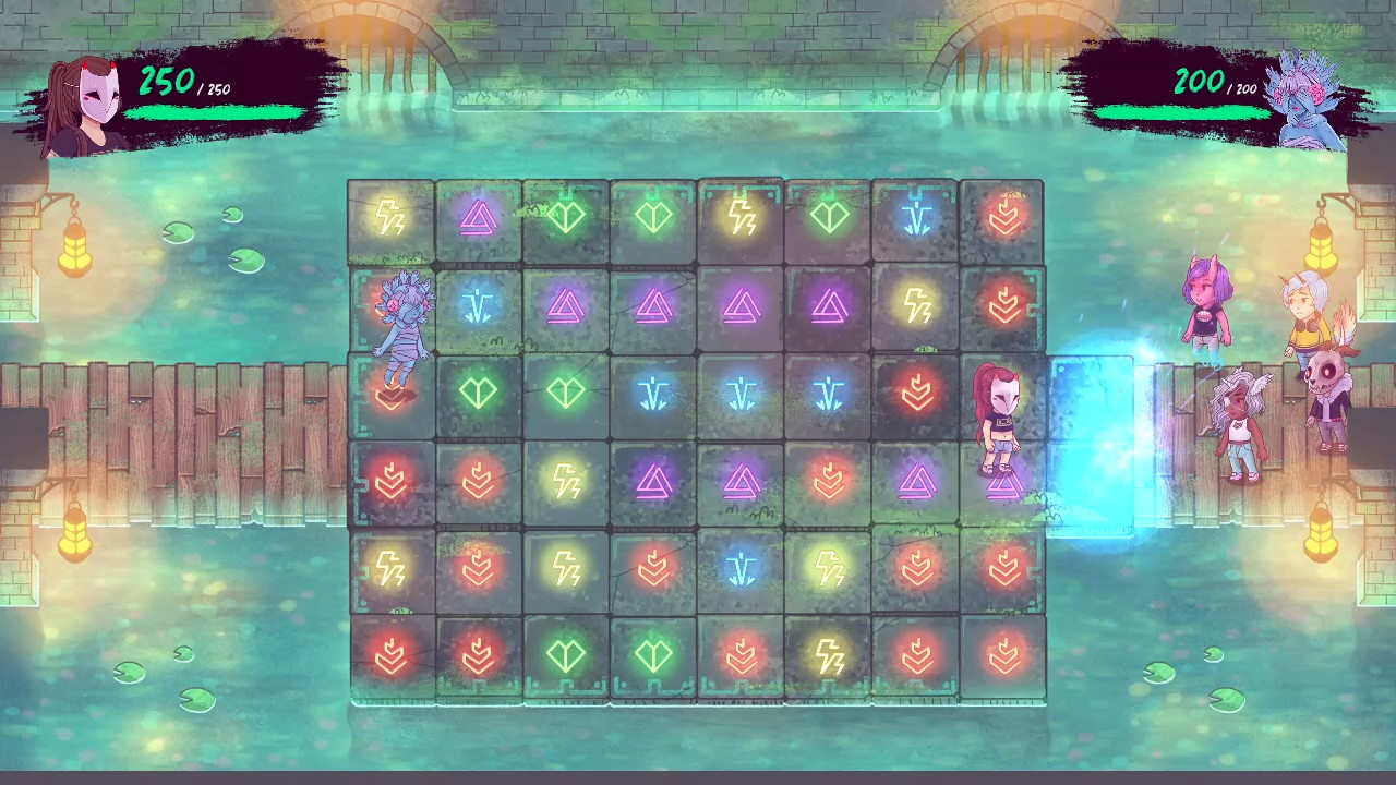 The game's combat grid, with various colored symbols on it.