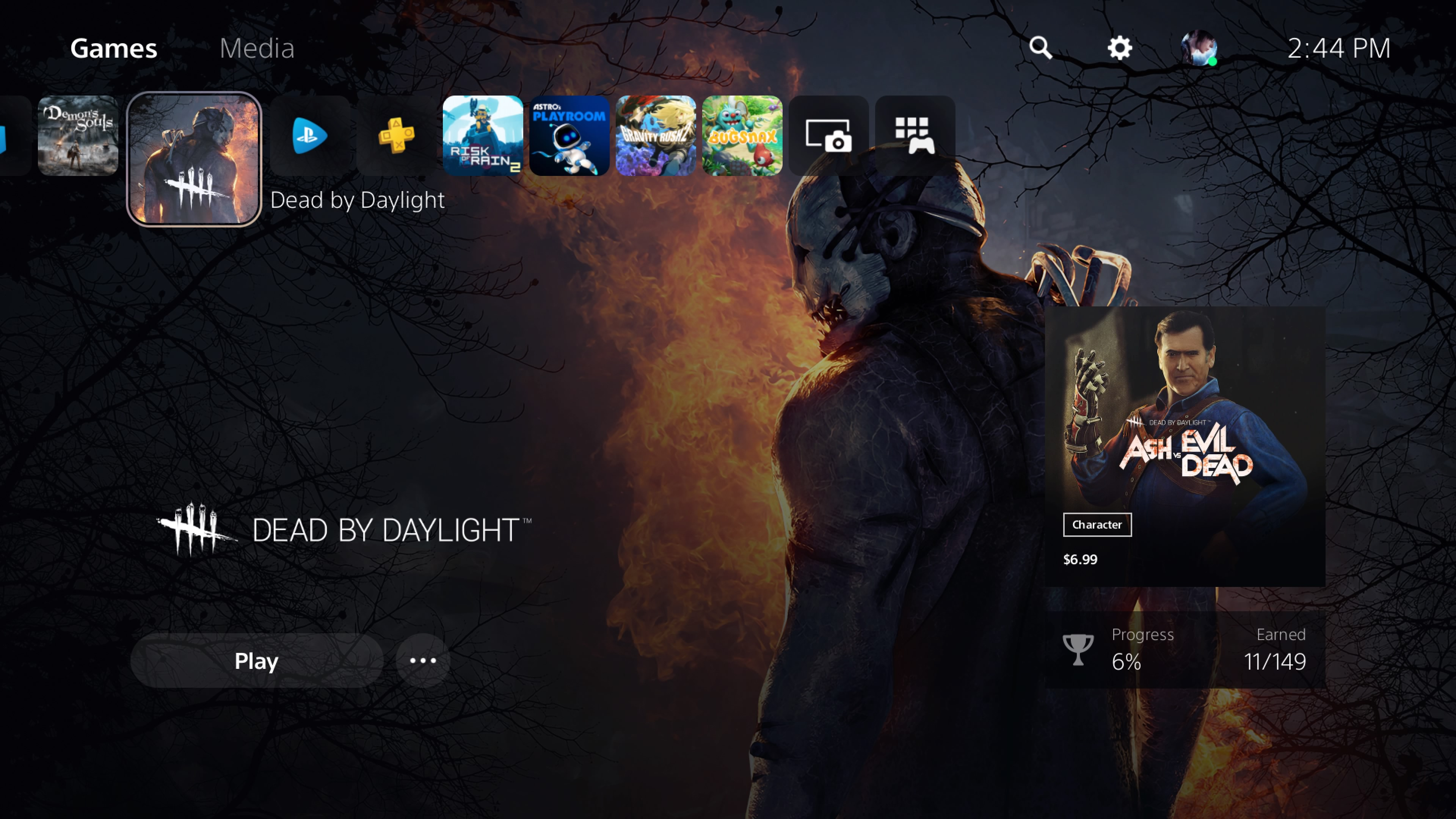 A screenshot of the PS5's main UI. It is hovering over Dead By Daylight with a big play button.
