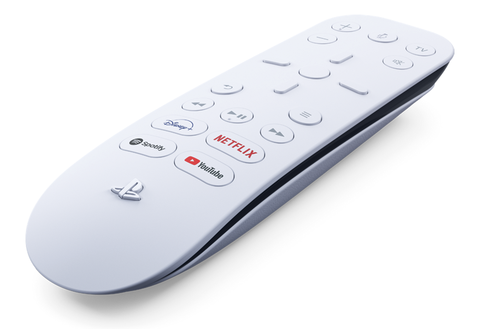 The PS5's white media remote, with the standard remote buttons along with buttons for Youtube, Netflix, Spotify, and Disney+.