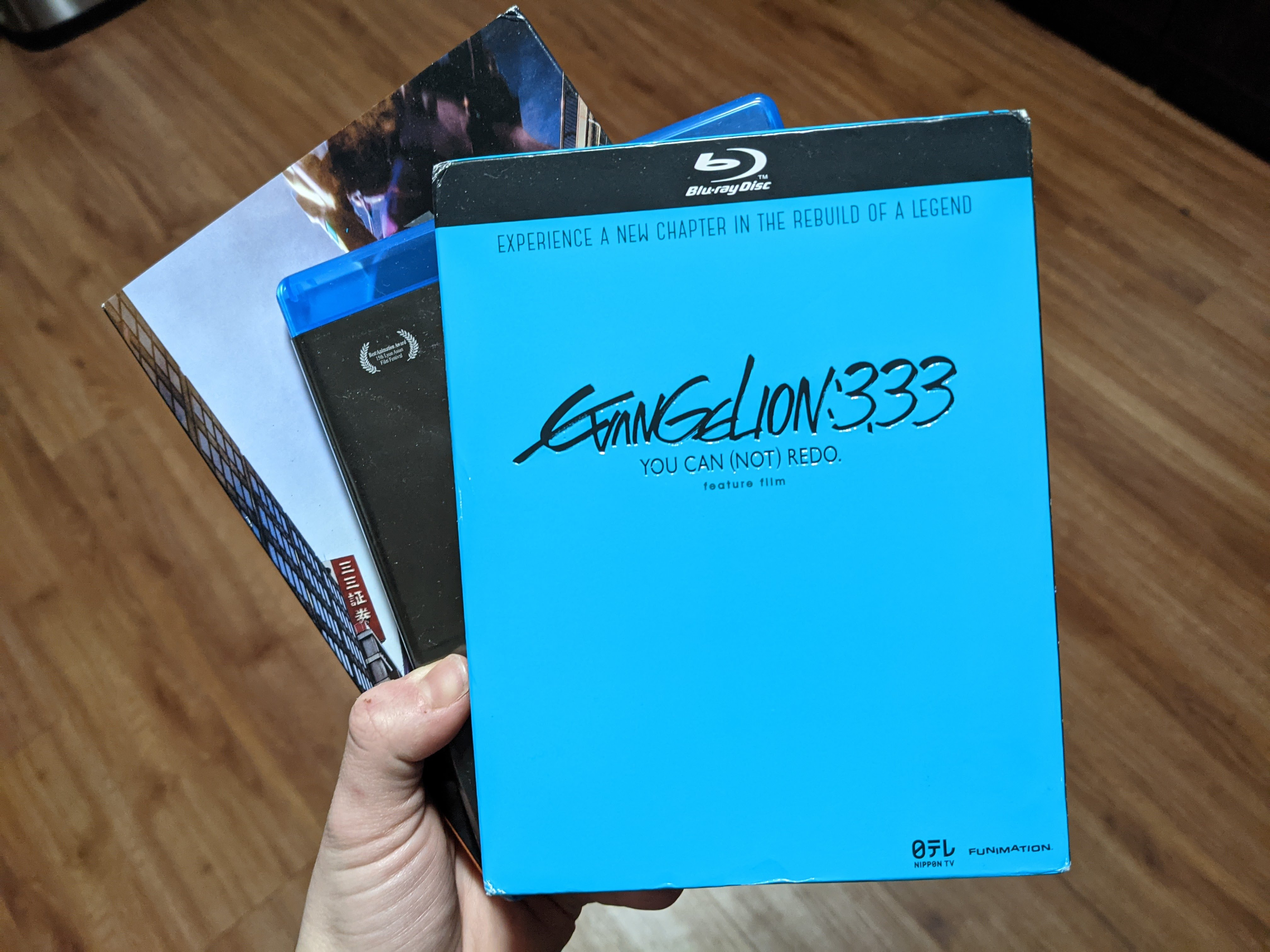 A picture of my hand holding the three Neon Genesis Evangelion Rebuild movies.