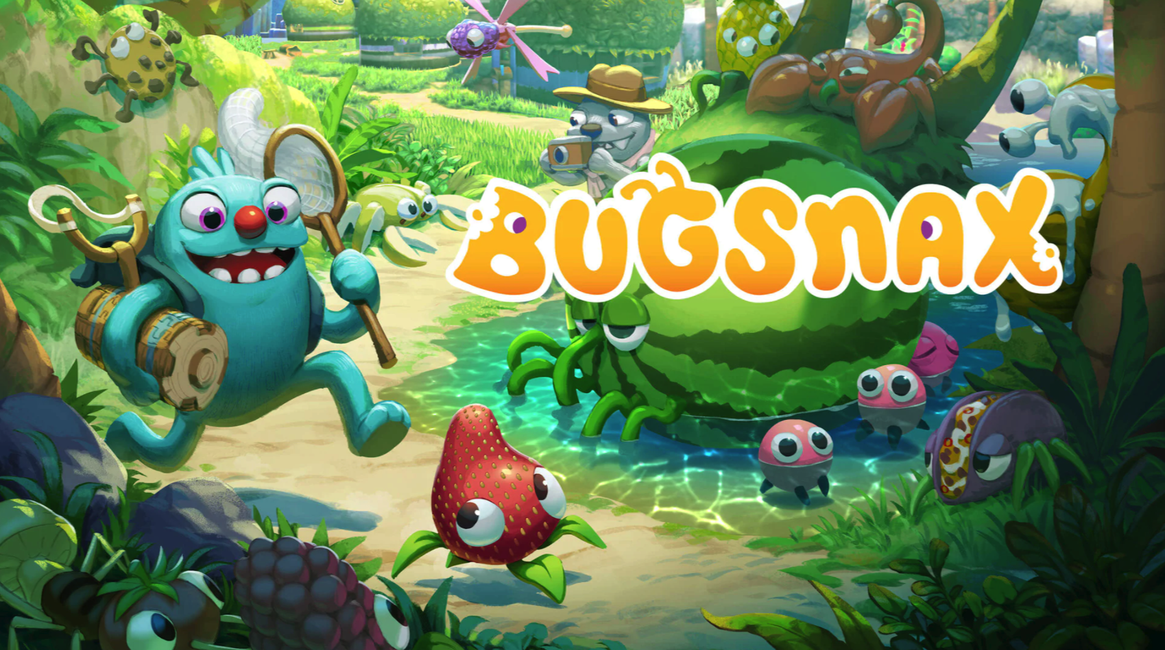 A grumpus (character in the game) running and trying to catch a strawberry with legs. The title BUGSNAX sits on top of the other creatures that are around, various food pun animals.