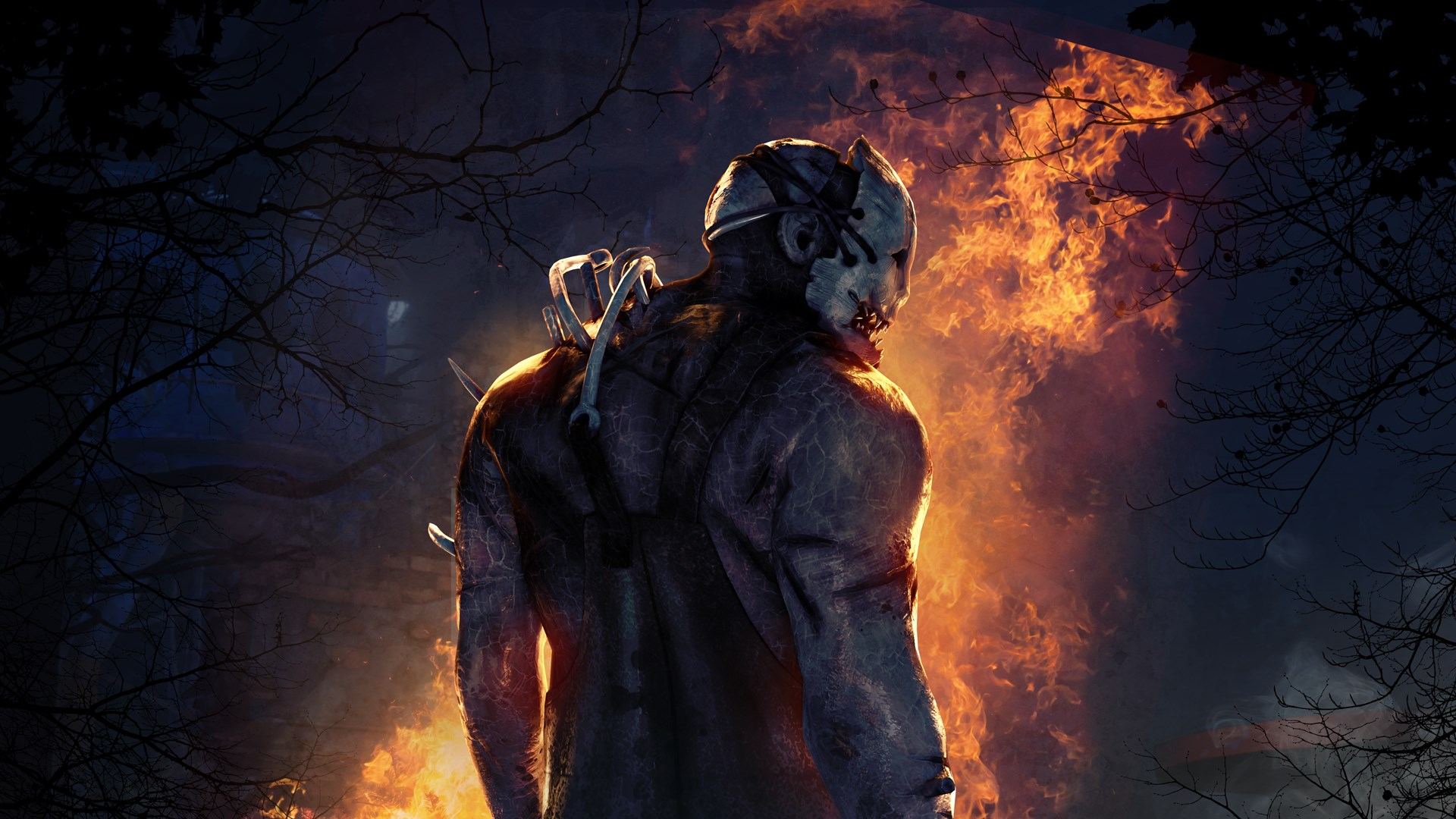 The trapper from Dead by Daylight with his back to the reader, looking over his shoulder. There is fire behind him.