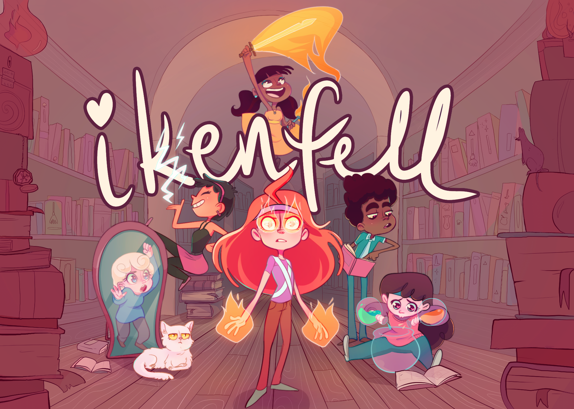 The characters of ikenfell in movie-poster style poses. They all center around the main character with the words IKENFELL in large text above them written in cursive.