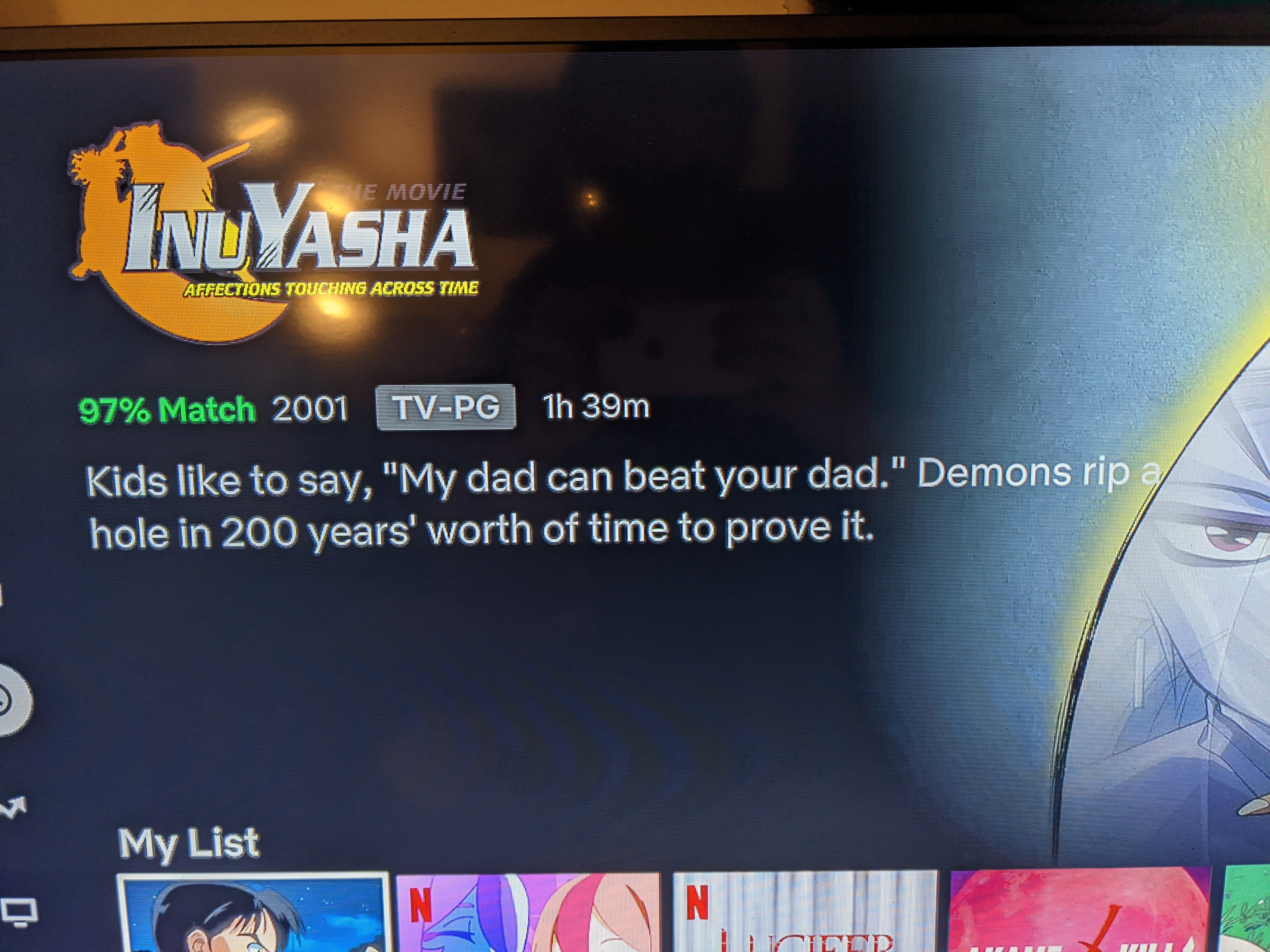 A photo taken on my phone of the Netflix blurb for the first inuyasha movie.