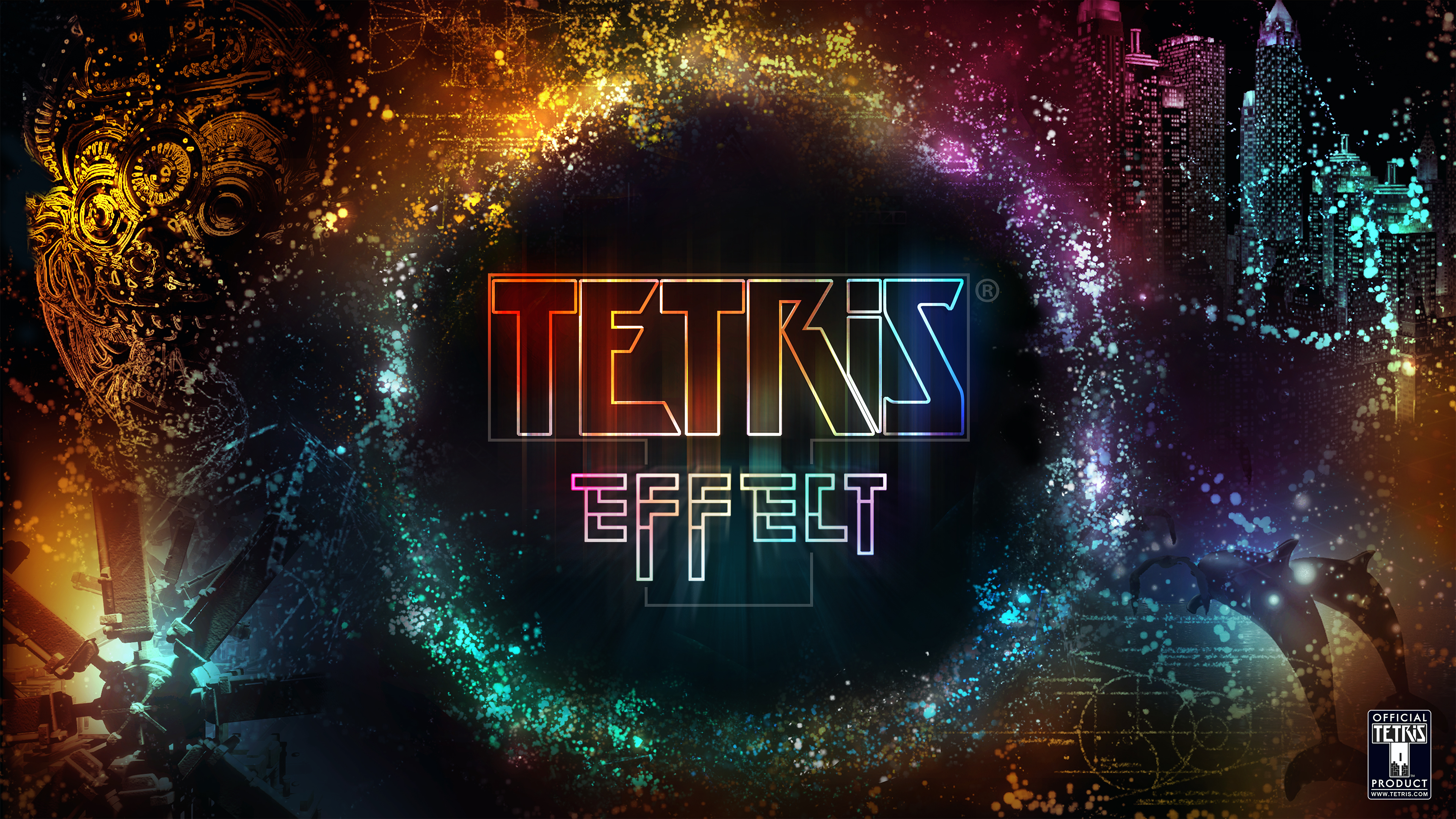 The logo for tetris effect with various particle effects around it.