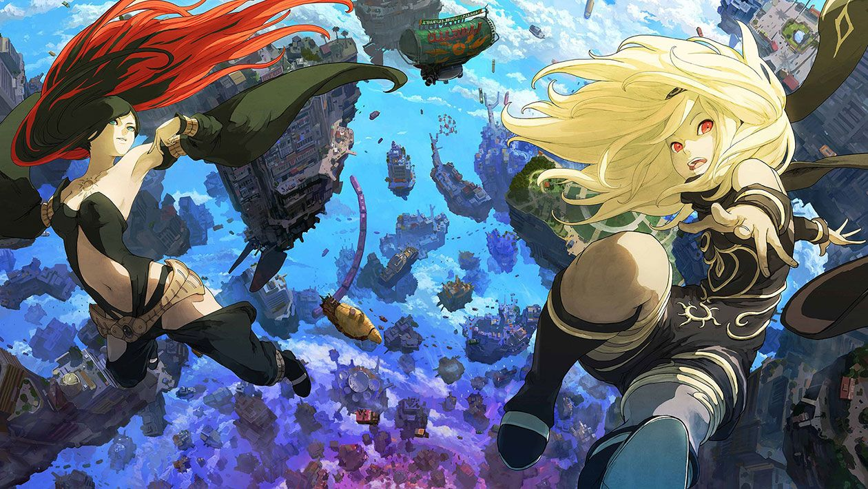 Press kit image for Gravity Rush 2. It's the character's Kat and Raven floating with buildings and ships behind them.