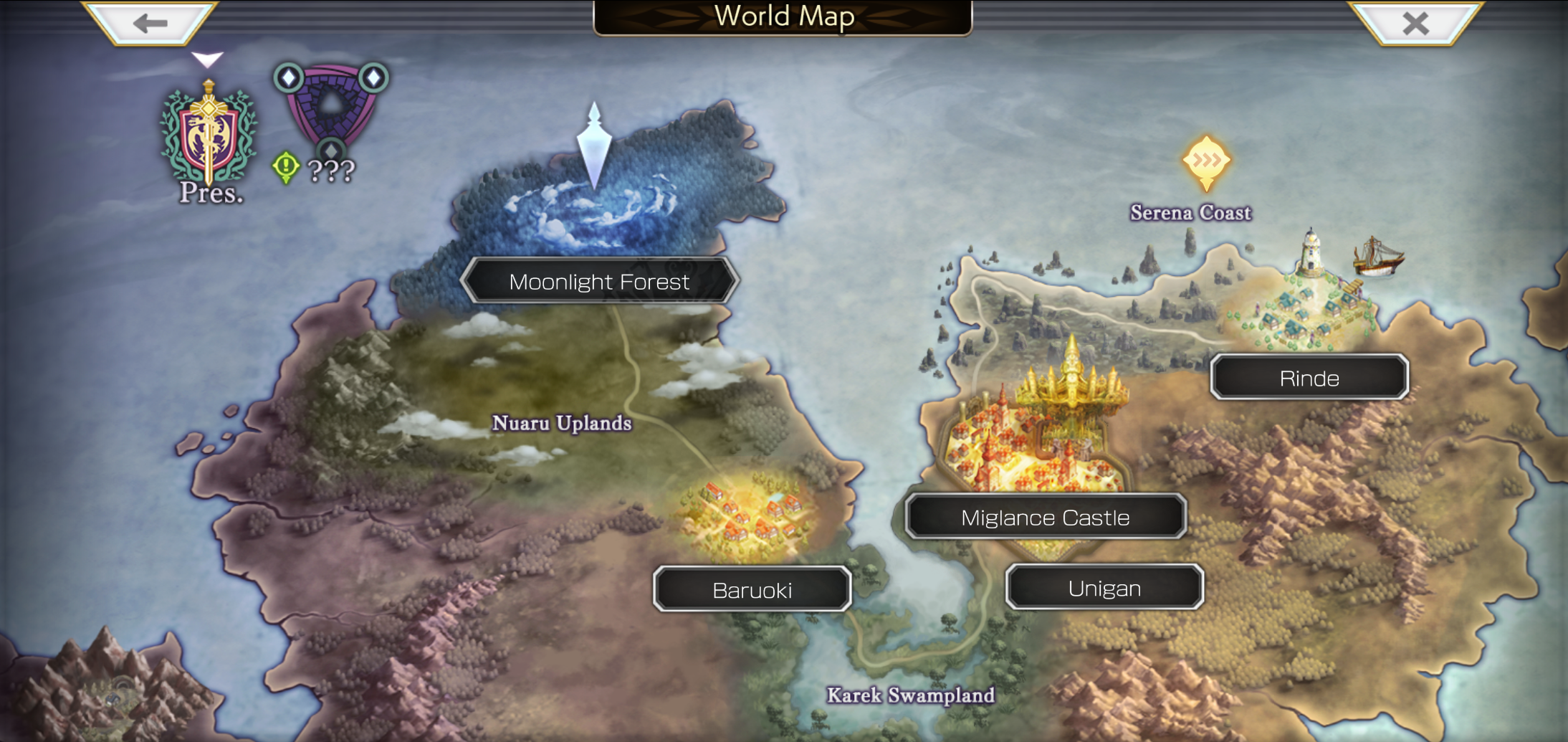 The world map for one of the eras within the game.