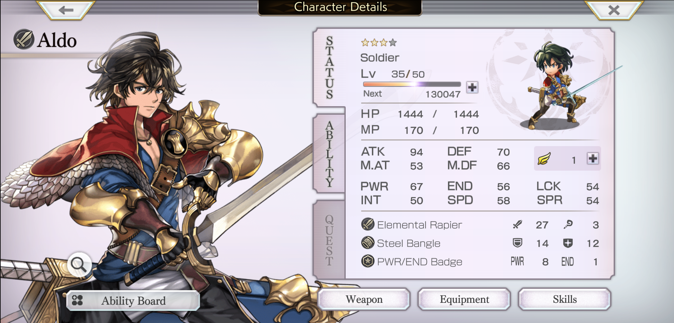 Character Details Screen for the protagonist Aldo. It shows his various stats along with his equipment.