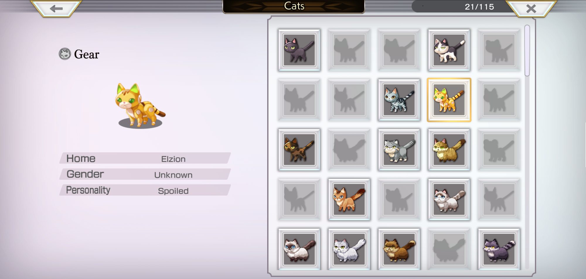 A screenshot of the Cat Catalogue, showing that some cats have been found but others are missing. Each cat has a name, home location, gender and personality.