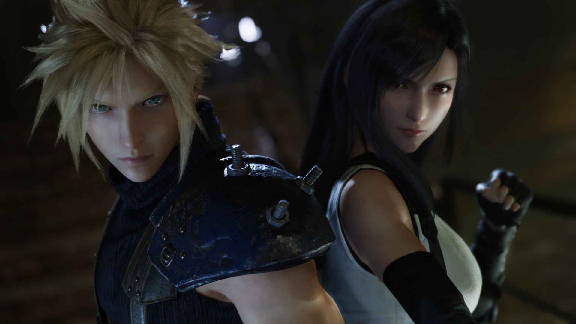 A picture of Cloud and Tifa from the game Final Fantasy 7 Remake.